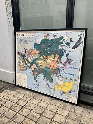 Vintage Mid Century French Classroom Map Asia With Frame PICK UP ONLY