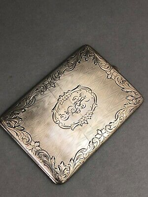 Antique Sterling Silver Calling Card Business Card Case Monogrammed