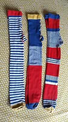 3 x Pairs of Marks and Spencer Red Blue Yellow and White Stripy Tights  3-4