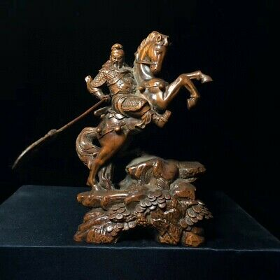 Collect China Old Boxwood Hand-Carved Guan Yu Ride Horse Delicate Unique Statue