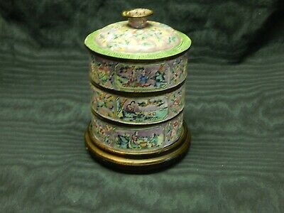 Antique CHINESE Cloisonne ENAMEL STACKING FOOD CONTAINER w/ Stand Oriental Asian