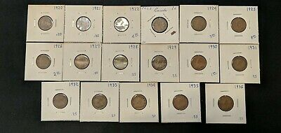 1920-1936 -17 King George V Canada Canadian Small Cent/Penny complete collection