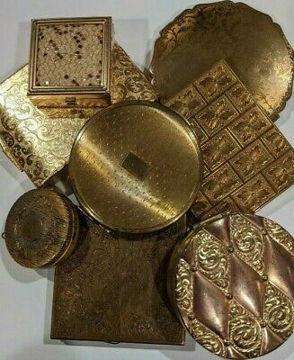 Vintage Estate LOT of 8 Makeup Powder Compact with Mirrors, Art Deco