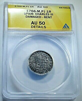 1766 ANACS AU Details Spanish Silver 1 Reales Antique 1700s Colonial Pirate Coin