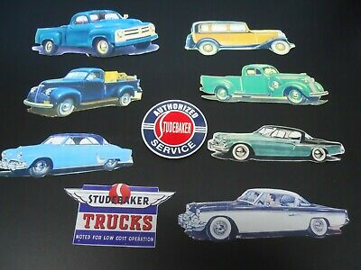 Group Of 9 Colorful Decorative Magnetic Stickers Studebaker Cars & Trucks