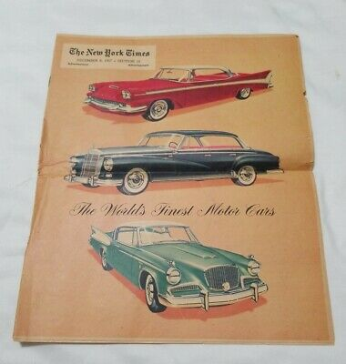 1957  New York Times 16 Page  Studebaker Mercedes advertisement
