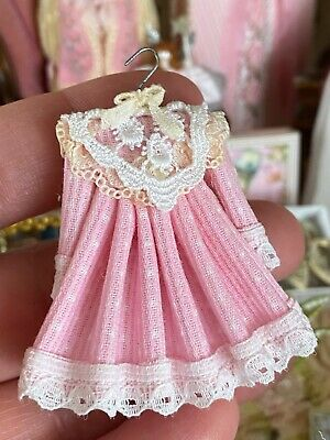 Vintage Miniature Dollhouse Artisan Little Girls Pretty In Pink Display Dress