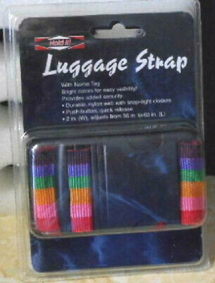 """Travel Suitcase Luggage Stripped Strap Band w/ Name Tag Bright Colors 2"""" Wide"""