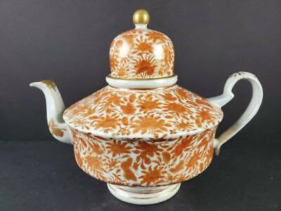 Antique Chinese Export Porcelain Sacred Bird & Butterfly Dome Teapot