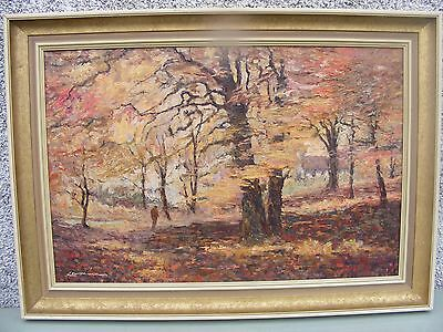 Large Oil On Canvas Gallery Painting Signed