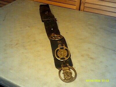 VTG Antique 3 Brass Horse Harness Medallions Uncle Sam , Seahorse, Butterfly