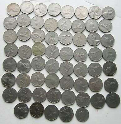 Lot of 61 Great Britian 50 pence coins: 30.5 pounds