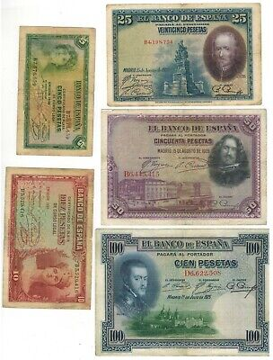 SPAIN lot of 5 vintage notes, nice condition.