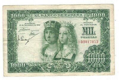 Spain 1000 pts. 1957. Reyes Catolicos, Replacement, nice condition.