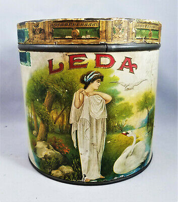 1917 LEDA with Swan Round 50 Havana Cigar Tin Humidor Embossed Paper Litho