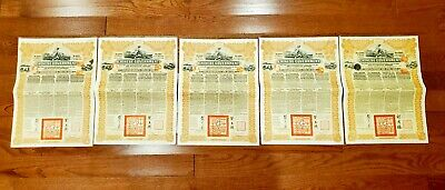 5 notes Chinese Government 5% Reorganisation Gold Loan of 1913 £20 coupon bonds