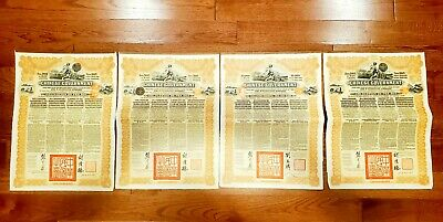 4 notes Chinese Government 5% Reorganisation Gold Loan of 1913 £20 coupon bonds