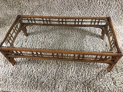 Mid Century Modern Coffee Table Faux Bamboo And Leather Vintage MCM Glass Top