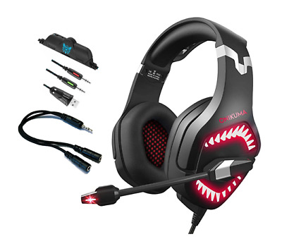ONIKUMA K1B PRO Bass LED Gaming Headset for PS4 New Xbox One PC Laptop Switch