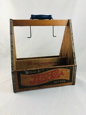 Vintage Double Dot Pepsi Wooden Case Bottle Holder Wood Wire Handle 6 Pack