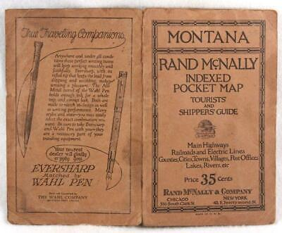 Rand McNally Indexed Pocket Map Tourist and Shipper's Guide MONTANA 1923