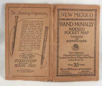 Rand McNally Indexed Pocket Map Tourist and Shipper's Guide NEW MEXICO 1923