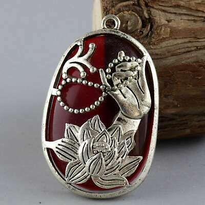 China Old Miao Silver Armour Amber Carve Buddha Hand & Lotus Auspicious Pendant