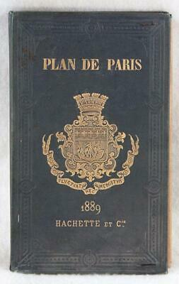 """PLAN DE PARIS"" Hachette, 1889 Street Map of Paris for the Exposition"