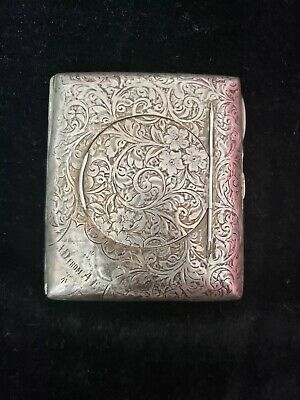Antique sterling silver business card case