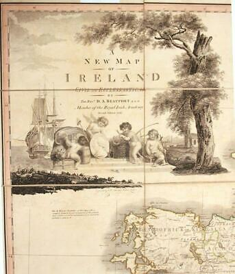 "Original Antique Beaufort's ""A New Map of Ireland Civil & Ecclesiastical"" 1797"