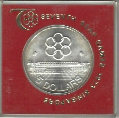 1973 Singapore Silver $5 Dollars 7th Seventh SEAP Games