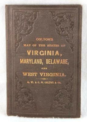 Colton's Map States of Virginia Maryland Delaware & West Virginia 1866 Civil War