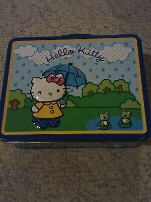 Sanrio Hello Kitty Tin Lunch Box Blue Umbrella Rain singing Frogs metal 2007