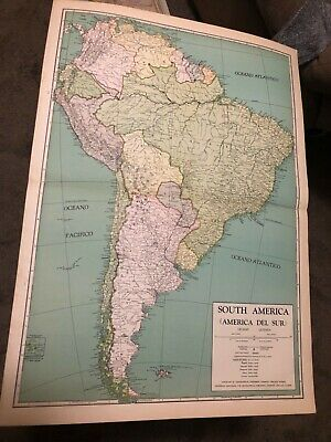 L@@K! Vintage 1940 World Atlas Map of South America  WWII World War Map