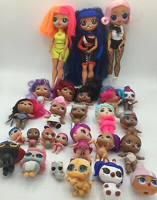 Huge 25 Piece LOL Surprise OMG Dolls Lot Including DOWNTOWN BB and UPTOWN GIRL