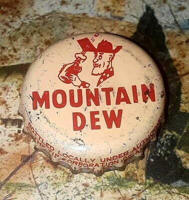 1960's, Mountain Dew Soda Cork Backed Cap Crown TIP CORP.