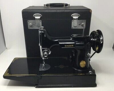 Vintage 1950 Singer 221 Featherweight Sewing Machine With Original Case!