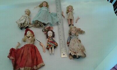 Antique Doll Lot of 6 Assorted Dolls as Pictured