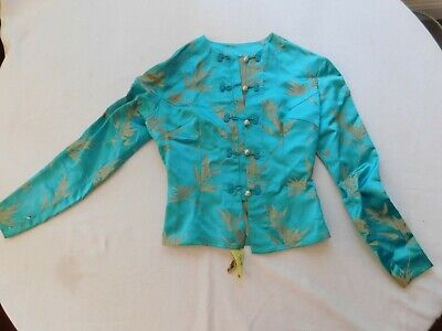Antique Chinese Hand Embroidered Blue Leaves Silk Woman Clothes