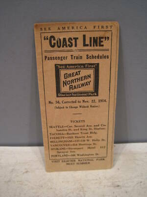 1914 Great Northern Coast Line pocket timetable.