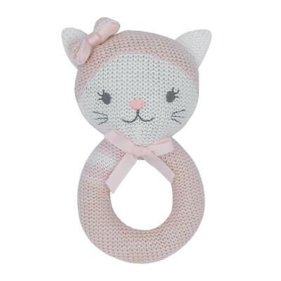 Daisy the Cat Knitted Baby Ring Rattle | Living Textiles