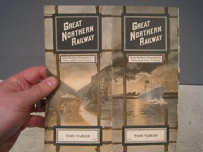 1906 Great Northern timetable, ultra pictorial and rare.