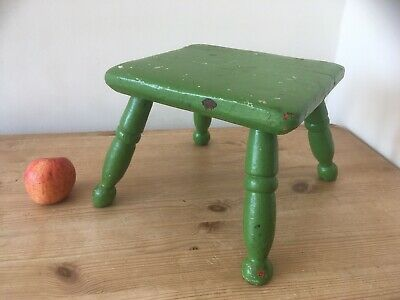 Small Antique Green Painted Stool. Milking Foot Vintage Farmhouse Rustic Chippy