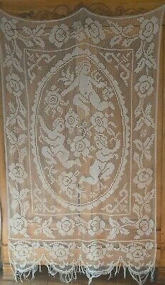 Antique French figural filet lace curtain, hand knotted, cherubs/angels