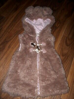 Pink Girls Next Gilet Fluffy Coat 3-4 Years