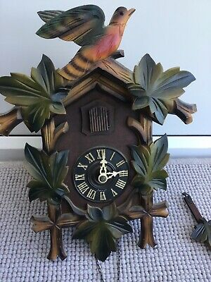 Vintage Forester CUCKOO CLOCK Dark Brown Wood Coloured Front Bird Art German?