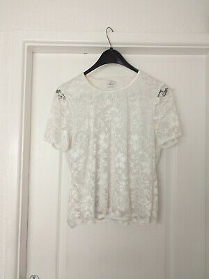 Ladies Girls Size 16 Eastex White Lace Top Short Sleeve