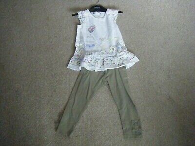 Girls Ivory and Green Top and Leggings Age 3-4 Years from George