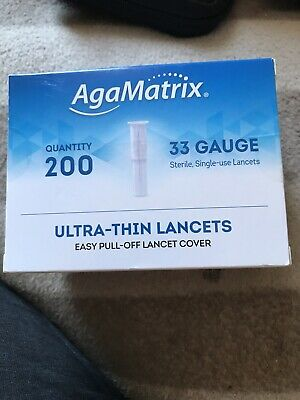 AgaMatrix Ultra-thin Lancets 33G 200 Pack Exp 03/24