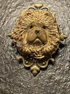 One of a Kind Victorian Gold Color Chow Head Brooch w/ Rhinestone